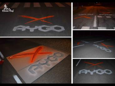 Marquage Toyota Aygo en tempo-tag avec couleurs